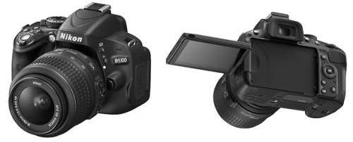 Nikon releases their new mid-range entry level DSLR with a swivel screen. The Nikon D5100 will run about $800 for the body, 900$ with a 18-55mm kit lens and will be available April 21st.  SPECS: TypeSingle-lens reflex digital cameraLens mountNikon F mount (with AF contacts)Effective pixels16.2 millionImage sensor23.6 X 15.6 mm CMOS sensormage size (pixels) 4,928 X 3,264 (L) 3,696 X 2,448 (M) 2,464 X 1,632 (S)  File format1) NEF(RAW), 2)JPEG, 3)NEF(RAW)+JPEGMediaSD (Secure Digital) memory cards *1SDHC, and SDXC memory cardsFrame advance rateUp to 4 fps *2ISO sensitivityISO 100 – 6400 in steps of 1/3 EV. Can also be set to approx. 0.3, 0.7, 1, or 2 EV (ISO 25600 equivalent) above ISO 6400; auto ISO sensitivity control availableMovieFrame size (pixels) and frame rate :  1,920 X 1,080, 30 p/25 p/24 p,  high/normal 1,280 X 720, 30 p/25 p/24 p,  high/normal 640 X 424, 30 p/25 p,  high/normal A frame rate of 30 p (actual frame rate 29.97 fps) is available when NTSC is selected for video mode. 25 p is available when PAL is selected for video mode. Actual frame rate when 24 p is selected is 23.976 fps.File format/Video compression:MOV, H.264/MPEG-4 Advanced Video CodingAudio recording device:Built-in monaural or external stereo microphone; sensitivity adjustable Monitor3-in., approx. 921k-dot (VGA), vari-angle low-temperature polysilicon TFT LCD with 170° viewing angle, approx. 100% frame coverage, and brightness adjustmentPower sourceBattery : One rechargeable Li-ion EN-EL14 batteryAC adapter : EH-5b AC adapter; requires EP-5A power connector (available separately)Dimensions (approx.)(W×H × D)128 X 97 X 79 mmWeight (approx.)510 g without battery, memory card, or body cap560 g with battery and memory card but without body capMajor supplied accessoriesEN-EL14 rechargeable Li-ion battery, MH-24 battery charger, AN-DC3 strap, EG-CP14 audio/video cable, UC-E6 USB cable, DK-5 eyepiece cap, BS-1 accessory shoe cover, DK-20 rubber eyecup, BF-1B body cap, ViewNX 2 CD-ROM