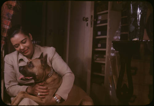 Billie Holiday, photographed by Carl Van Vecthen, with her boxer Mister. She loved Mister!