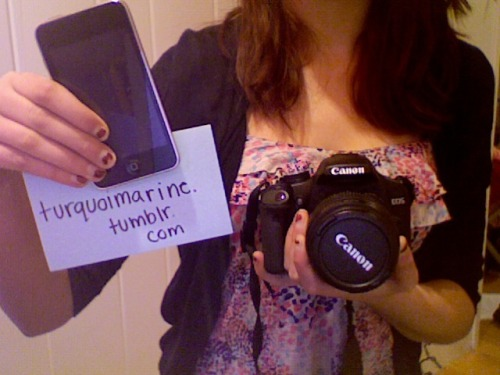 "hub3rt:  turquoimarine:  CONTEST TO WIN A CANON REBEL T1i OR A 3RD GENERATION IPOD TOUCH The camera - My grandparents have known for a while that I'm very interested in photography, so they bought me this amazing camera for an early birthday present without knowing I already had a similar one. I have no use for it and none of my friends are into photography like I am, so it seemed logical to give it to someone who really wants it! The first person I choose will win this camera! It will come with everything it came with in the box (charger etc). The iPod - My friend just got an iPhone and is selling me her 4th generation Touch, so I'm giving away my old 3rd generation Touch to one of you! It's about a year old and has the quote ""Don't worry, be happy"" engraved on the back. If you don't like it, you could easily cover it up with a case. The second person I choose will win this iPod! RULES TO PARTICIPATE:  You MUST be following me at http://turquoimarine.tumblr.com/ You MUST reblog this post. Likes DO NOT count! Only reblogs will count to be qualified to win.  I will pick two winners on Thursday April 14th. I contact you via ask so you MUST have your ask turned on by then. If you have won and do not have it turned on, I will randomly pick someone else.  GOOD LUCK TO EVERYONE! :D  Woah I wish I could win that camera, this is pretty nice of her. The world needs more nice people like her.  Have always wanted this camera!"