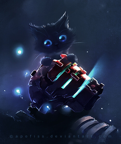 Dead Space tribute art - featuring a kitty cat! By Apofiss