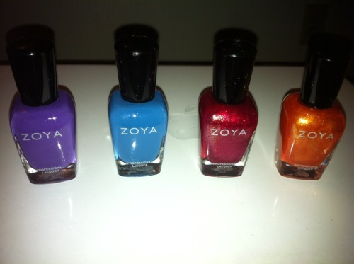 I finally got my BOGO summer polish from Zoya today! The picture washes the colors out a little, but you get the idea. Left to right: Mira, Breezi, Reva, Tanzy  I need a good mint, coral, and navy blue polish next! Mac just came out with a great mint today in their Quite Cute collection… hmmm…