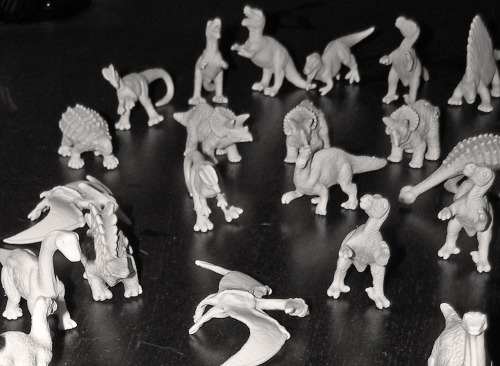 What could be cooler than dinosaurs?  ZOMBIE DINOS! … primed and ready to be painted