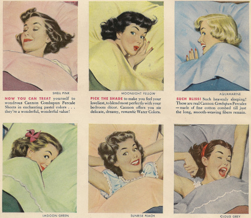 hollyhocksandtulips:  Cannon Sheets advertisement, 1950's