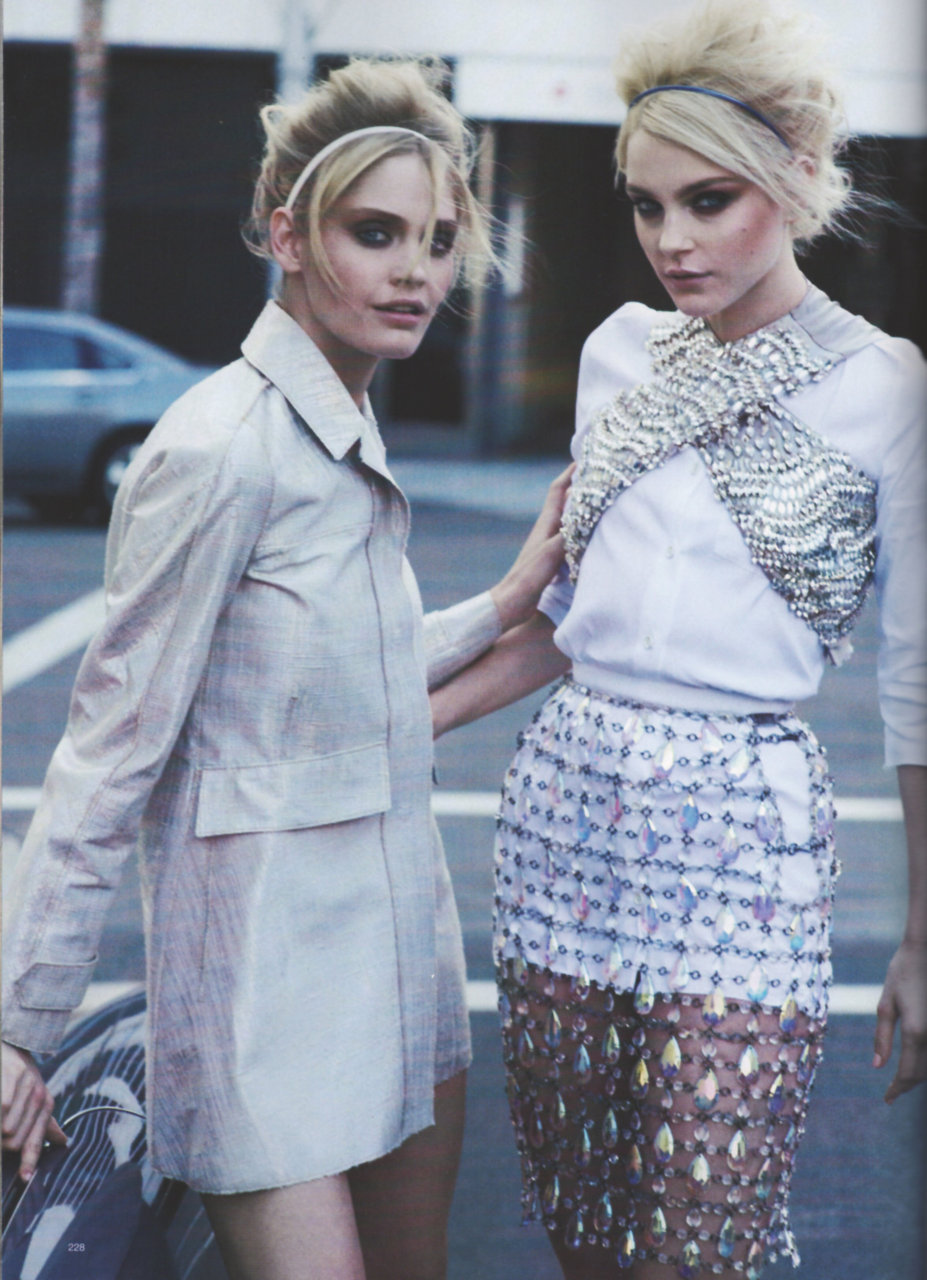 iamhautecouture:  Jessica Stam and Heidi Mount in Harper's Bazaar April 2010 by Peter Lindbergh