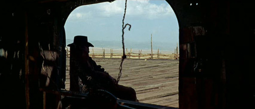 Sergio Leone's Masterpiece Once Upon a Time in the West is a film that any filmmaker enjoy. This is a great shot from one of my favorite openings of any movie.