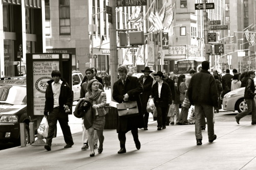 New York City, NY One of the busy streets in New York City, in classy black and white. :)