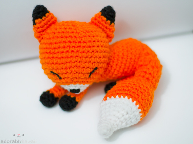 Sleepy Fox Amigurumi. Just listed in my shop!~  http://www.adorablykawaii.com/http://www.facebook.com/adorablykawaii/http://www.adorablykawaii.etsy.com/