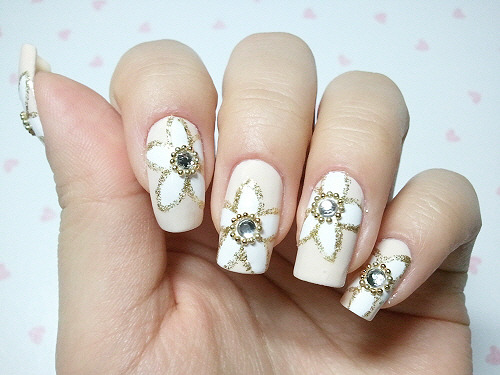 click through for tutorial (in my korean blog) flower pattern nailart