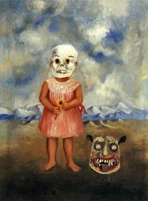 lostinvunderland:  Girl with Death Mask - Frida Kahlo, 1938
