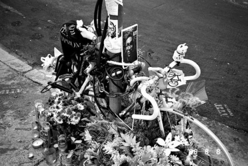 "utnereader:  As bicycling proliferates, so does a new type of urban death  memorial: White ""ghost bikes"" that memorialize cyclists who've been  killed in collisions with autos. The ghost bikes are equal parts shrine  and safety awareness campaign, meant to honor lives and prevent more  deaths. Bicycle Times magazine interviewed Meaghan Wilbur, a filmmaker who's working on a documentary about the phenomenon. Wilbur has been in touch with bike advocates all over the  country about their ghost bike displays, and she notes that not all  cities allow the white bikes to stick around:  Boston takes them down almost immediately after a few days or a few  weeks. San Francisco, too. People in both those cities cited reasons  like tourism, beautification, graffiti laws, and not having the streets  cluttered up with junk. Boston is not too keen on street art and other  spontaneously appearing objects. Cycling advocates that I spoke to in  San Francisco mentioned that perhaps ghost bikes are less common in San  Francisco because the SF Bike Coalition is an incredibly strong voice  for cyclists, and therefore there is less feeling that a statement needs  to be made. … New Mexico has a state law protecting descansos (roadside memorials), and the Duke City Wheelmen Foundation has so far  been successful in getting the state to recognize the ghost bikes are descansos and therefore protected under that law. … Miami installed a permanent  memorial including a ghost bike for Christopher Lee Canne earlier this  year in Key Biscayne, where his was killed. … Portland, Oregon, also has  a couple permanent ghost bike installations.  Read more …"