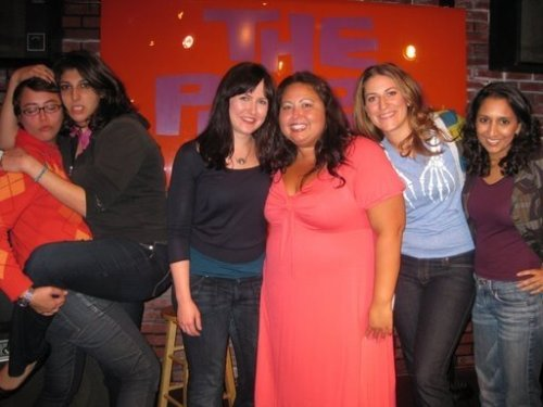 5 Funny Females 10 PM Show at the Purple Onion in SF on 6.26.09. Left to  Right: Front -  Janine Brito, Zahra, Katie Compa,  Susan Alexander,  Rachel Rockwood & Dhaya  [The left side of the photo is daring the right to react]