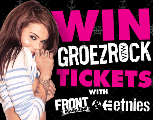 Yo! We've teamed up with Etnies and Groezrock to offer three lucky readers a pair of tickets and a pair of Etnies  shoes each. Winners will be heading out there as part of a Front/Etnies  party, which'll also include the amazing Arabella Drummond, so you can  probably smell her when she's not looking. CLICK HERE TO ENTER