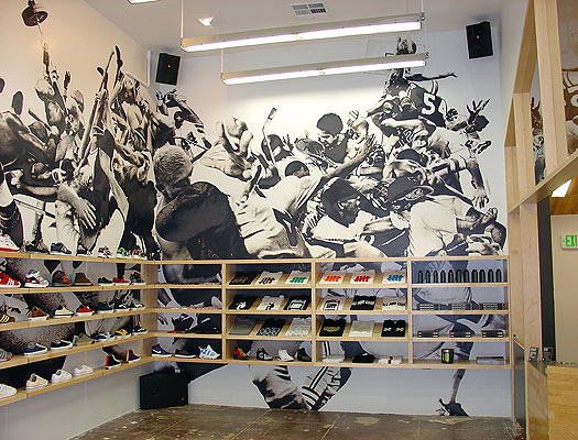 Brawl Wall, mural, 2004 20' x 47' Mural created for the UNDFTD Santa Monica, Ca store.
