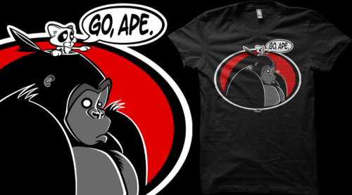 """Go, Ape"" is up for voting at Qwertee if you get a moment!  http://bit.ly/g6FHtf Alternatively, if you can't wait to see if it gets printed (!) you can get it right now from JVZ Designs"