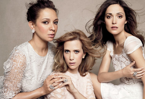vanityfair:  Hangover in Heels: The funniest bridesmaids ever. Maya Rudolph, Kristen Wiig, and Rose Byrne, shot by Paola Kudacki for this month's V.F.  Lmao