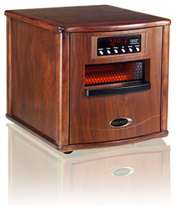 Presenting the Heat-A-Lot Infrared Furnace 1500 XL with a real walnut wooden cabinet.