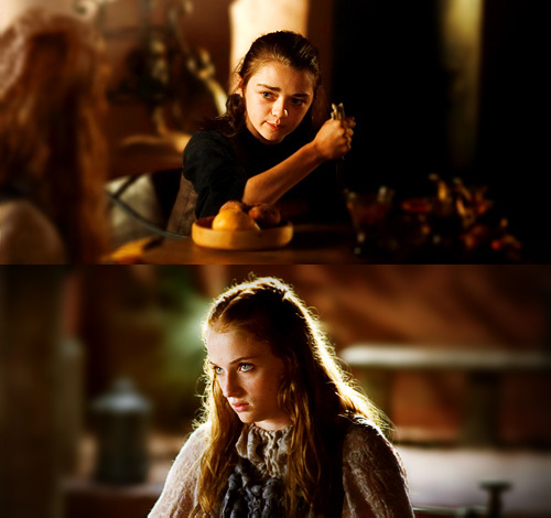 irresistible-revolution:   Just contrast Sansa and Arya. Sansa represents a very traditional feminine role, and through the course of the books we see how she increasingly inhabits it and gains power through it. Arya occupies the opposite end of the feminine spectrum, channeling a Kali-esque righteous and violent vengeance, along with corresponding influence on the game. Martin's narrative makes no value judgments in the book about which sister is good or evil, and both are equally fascinating. He just offers them up, alive and kicking; to the reader in true postmodern fashion. (via)  YES!