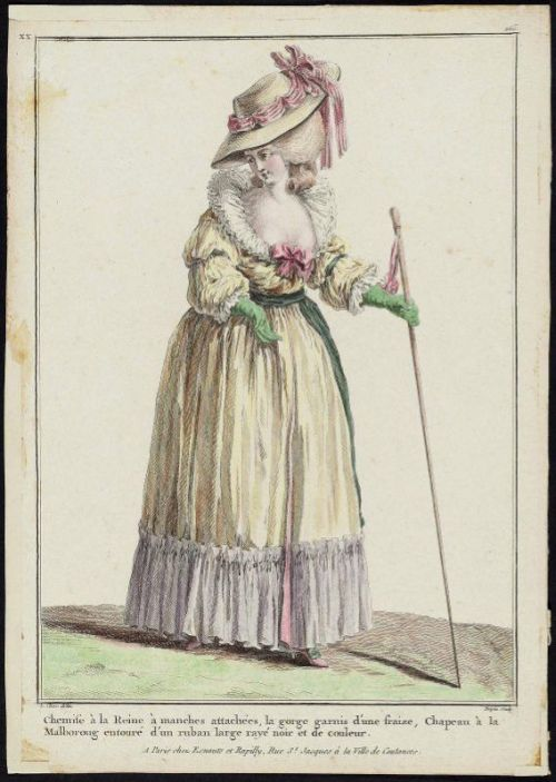 "Gallerie des Modes, 1784.  ""Chemise a la Reine…"" The iconic and lovely Chemise dress.  I love that this one is yellow!"