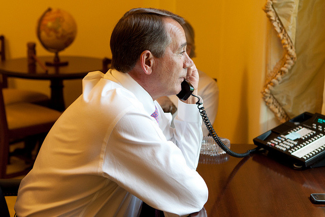 SpeakerBoehner on Flickr. Boehner aides confirm that President Obama called the Speaker at 6:32pm to discuss progress on the negotiations. No deal has been reached. - @CNBC