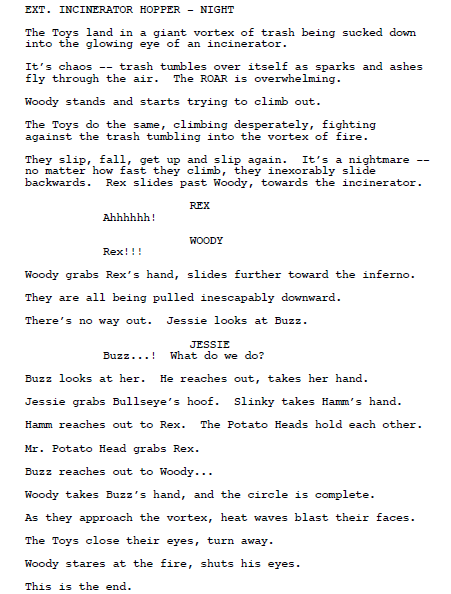 fuckyeahtoystory123:   The Incinerator Scene (Toy Story 3 screenplay excerpt)  I cried. Twice.