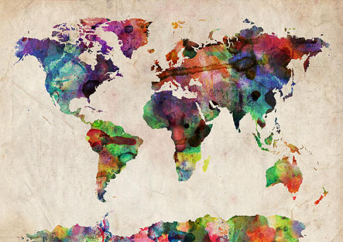 moonlightcity:  (via World Map Watercolor Digital Art by Michael Tompsett)
