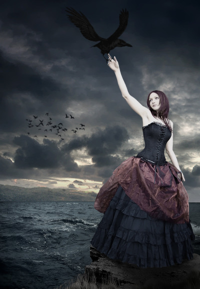 Victorian corset by the sea with a raven