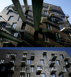 Love this apartment building terrace concept :) szymon:  Práter Street in Hungary by Atelier Péter Kis