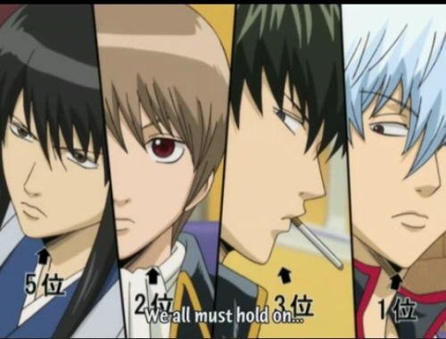 The boys of Gintama, inspiring us to hold on?? Naw… just me taking this phrase out of context. Basically just posting this b/c of the great close-ups of their beautiful mugs ^_____^
