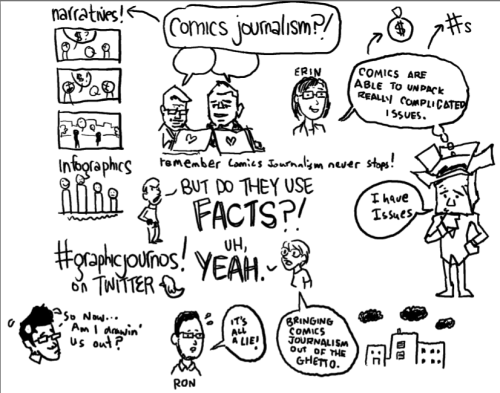 Here's the livedrawing from our NCMR panel by Matt Bors, Susie Cagle, and Ron Wimberly. Moderated by Sarah Jaffe and Erin Polgreen. And YES, comics are a part of journalism's future!