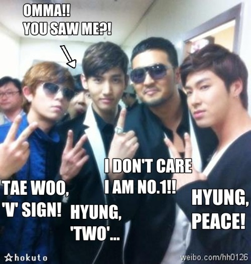 fuckyeahtvxqmacros:    Submitted by she-hers: -TaeWoo ah, Why you act like JYP? 8DDD- Oh that was Brian Joo, btw. xDD —————————————————————- Picture source @tteokbokki.tumblr.com Words (plus that arrow~) edited @She-hers.tumblr.  after brian eh so tony ahn at kim taewoo naman! :))