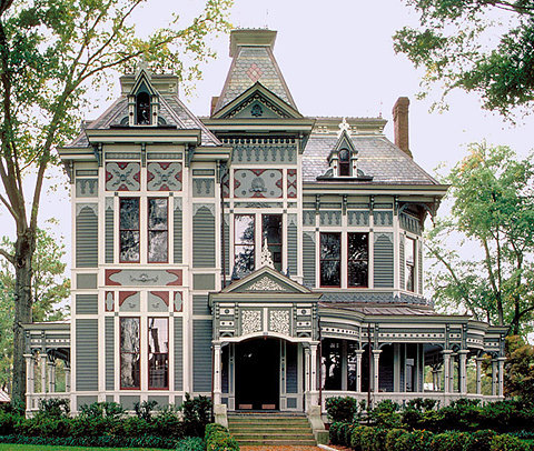Victorian House. Gray and white.