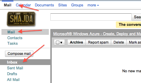If only Gmail would provide a link along the left-hand side of the screen that would take me to my inbox.
