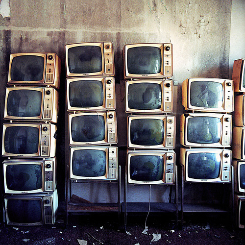 Stacked old televisions (by Lindsay Blair Brown)