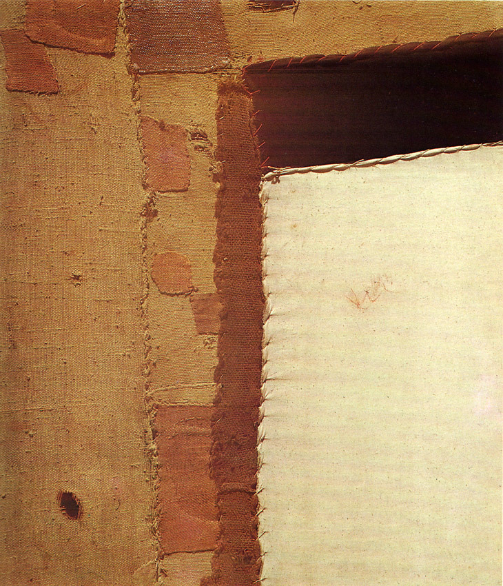 Sacco by Alberto Burri, 1952 Mixed media collage including burlap & hand stitching