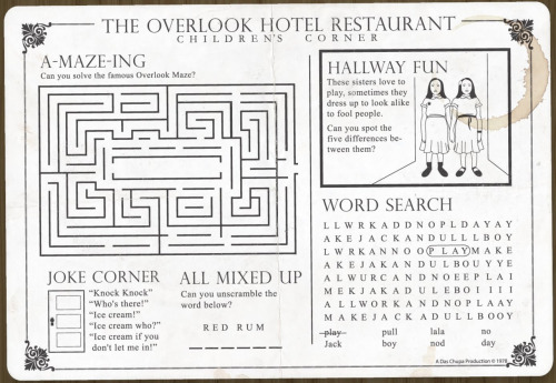 The Overlook Hotel Restaurant, Children's Menu