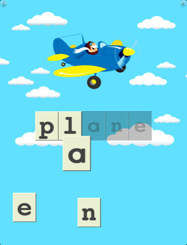 First Words by Learning Touch is a great first game for your child. Drag the letters to their place in the word, and hear the letters. When word is complete the screen animates and sounds like the object. They have a free Sampler version and the expansive First Words Deluxe ($4.99). There are also Spanish, Japanese, and other foreign language editions available. For iPad or iPhone.