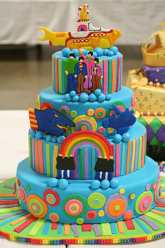 I saw this awesome cake posted online today!  Beatles cake anyone?