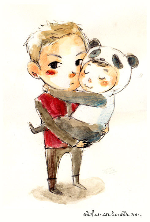ebichuman:  baby-panda-ri loves his toptoptop hyung…