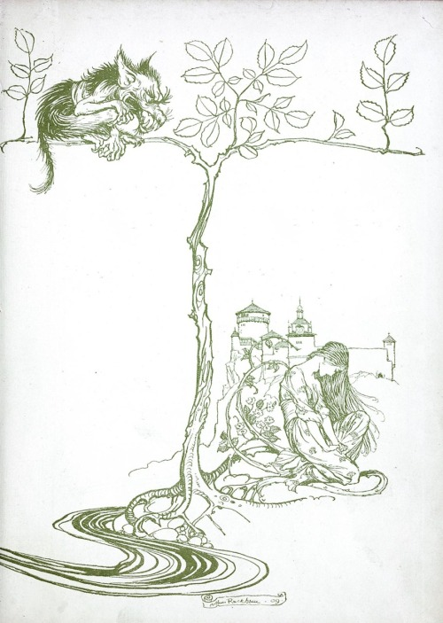 Arthur Rackham, second end-paper from Undine, by De La Motte Fouqué, London, 1909.  (Source: archive.org)