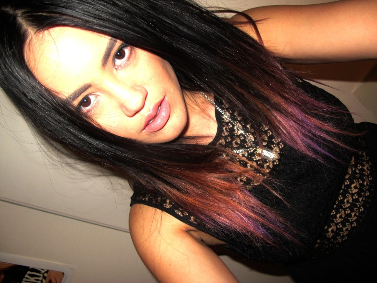hair just before it faded. goodbye pink-ish, hello dark purple