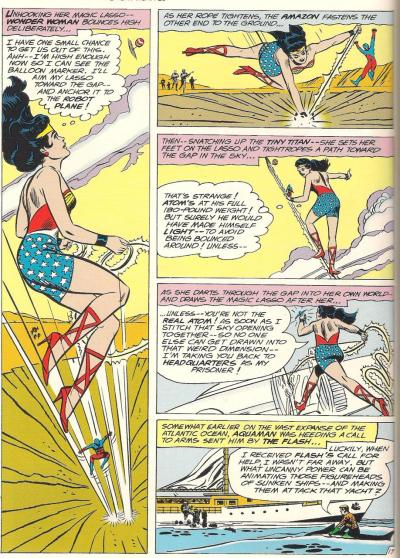 Not only does Wonder Woman figure out how to get her and the Atom out of the death trap, she even figures out this isn't the real Atom and captures him!