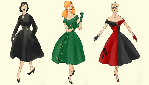 dcwomenkickingass:  Gotham City Sirens Mad Men Style. What more do I need to say?  OH MY GOOD GOOGLEY MOOGELY I LOVE THESE! I want the Poison Ivy & Harley Quinn dresses so much I think I just burst an ovary. I need them in my life like woah. This is exactly the style I want.
