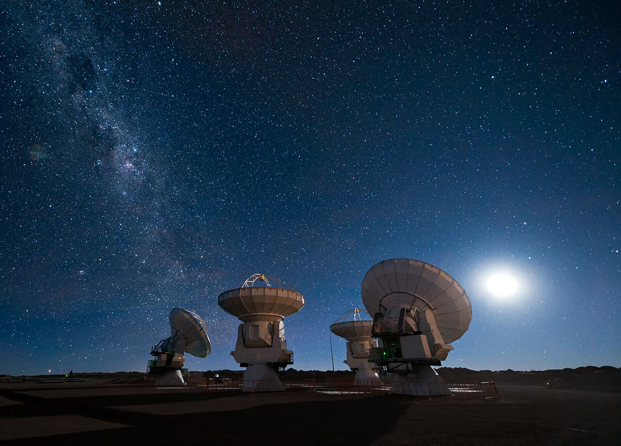 Antennas under the Milky Way, Atacama Desert, Chile.