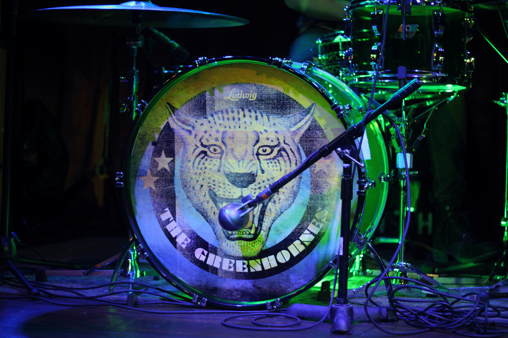 roxxan:  The Greenhornes drumhead  I think Patrick Keeler, either him or Miles Johnson, designed that cougar/leopard/or whatever.  In any case, Patrick Keeler does a bunch of graphic design stuff for Greenhornes albums, t-shirts, Raconteurs albums, websites, etc.   Musician and designer: that's an absolute dream job.