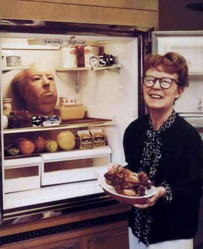 Alfred Hitchcock's head in a refrigerator [via Dangerous Minds]