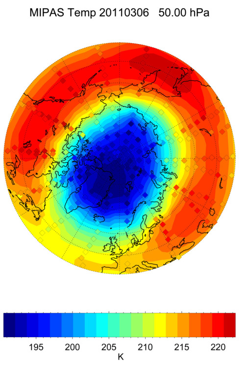Record loss of ozone over Arctic  ESA's Envisat satellite has measured record low levels of ozone over the Euro-Atlantic sector of the northern hemisphere during March. This record low was caused by unusually strong winds, known as the polar vortex, which isolated the atmospheric mass over the North Pole and prevented it from mixing with air in the mid-latitudes. This led to very low temperatures and created conditions similar to those that occur every southern hemisphere winter over the Antarctic. As March sunlight hit this cold air mass it released chlorine and bromine atoms – ozone-destroying gases that originate from chlorofluorocarbons (CFCs) and break ozone down into individual oxygen molecules – predominantly in the lower stratosphere, around 20 km above the surface. Ozone is a protective atmospheric layer found at around 25 km  altitude that acts as a sunlight filter shielding life on Earth from  harmful ultraviolet rays, which can harm marine life and increase the  risk of skin cancer and cataracts. Stratospheric temperatures in the Arctic show strong variations from  winter to winter. Last year, temperatures and ozone above the Arctic  were very high. The last unusually low stratospheric temperatures over  the North Pole were recorded in 1997. Scientists are investigating why the 2011 and 1997 Arctic winters were  so cold and whether these random events are statistically linked to  global climate change. […] (via ESA)