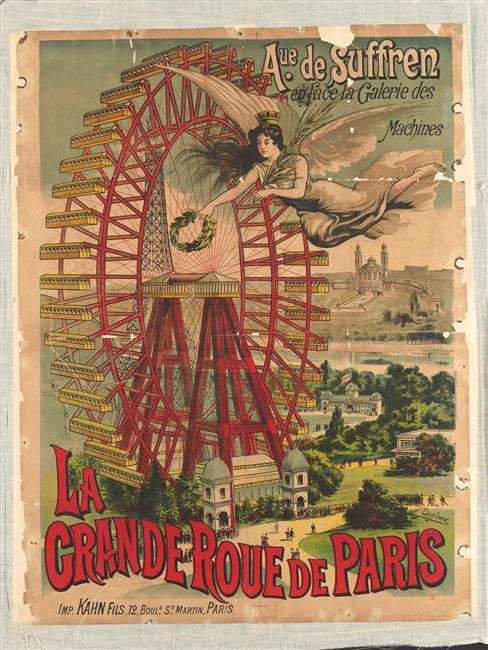 "French Friday continues… Via saturnrising:  ""Le Grande Roue de Paris,"" colour lithograph, circa 1900-1923, from the Réunion des Musées Nationaux (via liquidnight)"