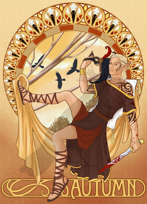 elenilote:  stormdragon:  trololololollo:  Art nouveau Dragon Age…I'm in love!   Some Zevran too.  *fans sefl* Whoa, I have not seen this one before!  Oh I love the sandals…and the mask…and the blood and the robe and the dagger and …sheesh, everything about this picture presses my buttons.  I ADORE the Alphonse Mucha feel of this. And unf unf, I love thissss. And/or I just really love him. T: