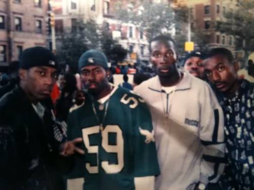 johnprice:  Big L and his killer together in the same picture. Big L is on the left and his supposed killer Gerard Woodley is on the far right. The photo was taken in 1996 during the annual African Day parade in Harlem.