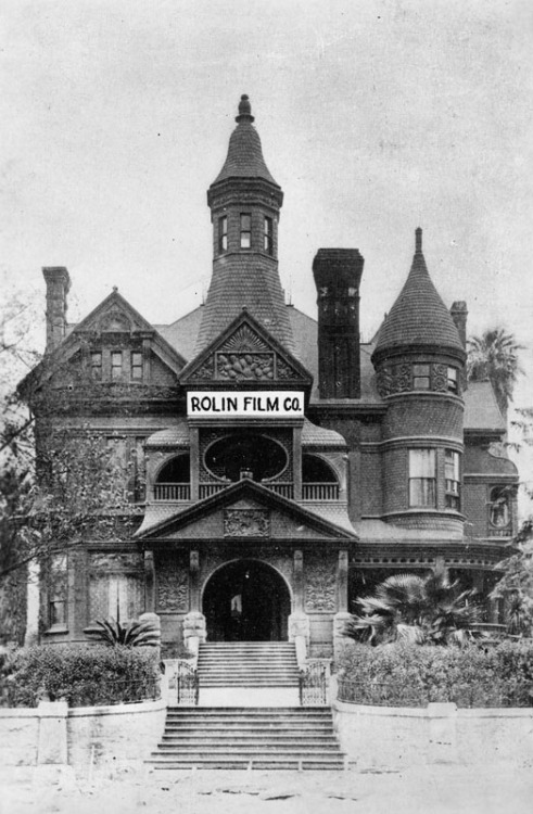 the rolin film company in what was formerly l.l. bradbury's mansion on court near hill street, a 35-room structure, complete with 5 chimneys and 5 turrets. it became a film studio and the home of hal roach comedies in 1914. then roach and dan linthicum founded the rolin film co. and harold lloyd started his climb to fame.  the house was finished in 1887 at a cost of $80,000.  it was demolished in 1929.